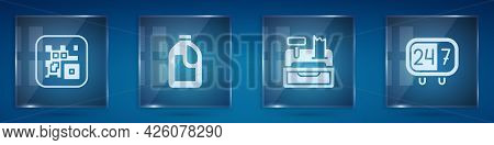 Set Qr Code, Bottle For Cleaning Agent, Cash Register Machine And Clock 24 Hours. Square Glass Panel