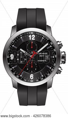 Realistic Watch Chronograph Stainless Steel Black Rubber Clockwise Red White Fashion For Men Design