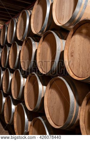 Keeping For Years Of Dry Red Wine In New Oak Barrels In Caves In Burgundy, Made From Pinot Noir Grap