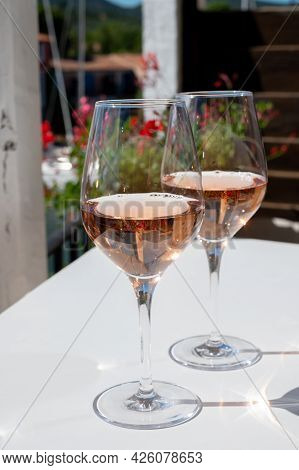 Summer On French Riviera Cote D'azur, Drinking Cold Rose Wine From Cotes De Provence On Outdoor Terr