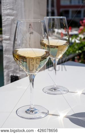 Summer On French Riviera Cote D'azur, Drinking Cold Dry White Wine From Cotes De Provence On Outdoor