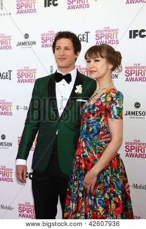 LOS ANGELES - FEB 23:  Andy Samberg, Joanna Newsom attends the 2013 Film Independent Spirit Awards at the Tent on the Beach on February 23, 2013 in Santa Monica, CA