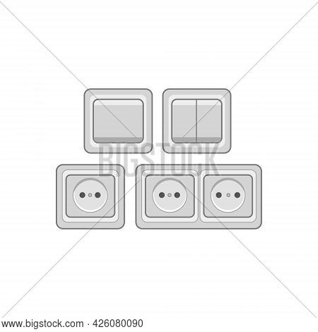 Socket And Switches Icon.vector Graphic Illustration Isolated Background.