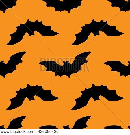 Vector Seamless Pattern Of A Black Bat Silhouette On An Orange Background For A Halloween Packaging