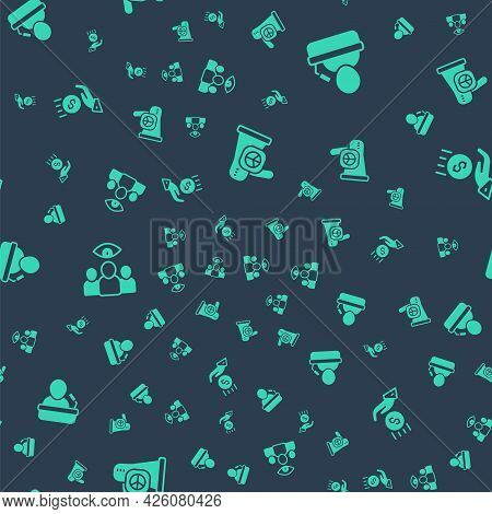 Set Peace, Speaker, Spy, Agent And Coins On Hand - Minimal Wage On Seamless Pattern. Vector