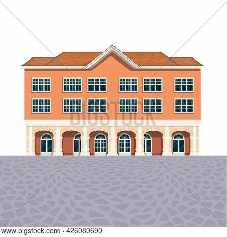 House Building Icon, Luxury Hotel Detailed Illustration, Administrative Classic Exterior Design, Fro