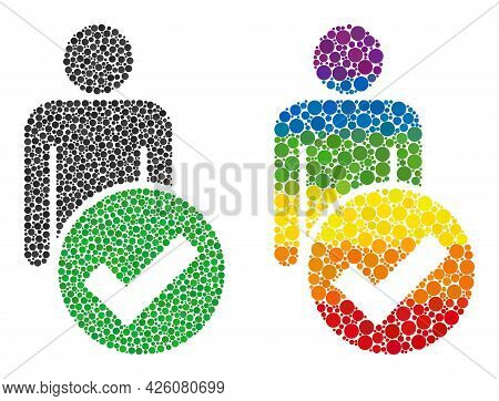 Valid Man Figure Collage Icon Of Round Items In Various Sizes And Spectrum Colorful Color Tones. A D