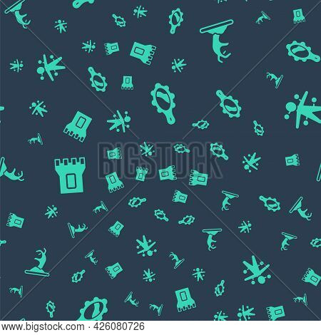 Set Magic Hand Mirror, Zombie, Castle Tower And Voodoo Doll On Seamless Pattern. Vector
