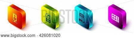 Set Isometric Stereo Speaker, Music Note, Tone, Recording Studio And Drum Machine Icon. Vector