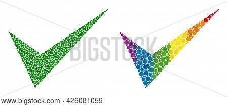 Yes Sign Composition Icon Of Circle Spots In Different Sizes And Spectrum Bright Color Tints. A Dott