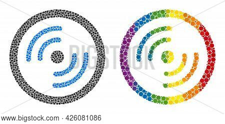 Rotor Rotation Collage Icon Of Round Items In Various Sizes And Rainbow Color Hues. A Dotted Lgbt-co