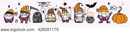 Vector Set Of Dwarfs For Halloween In Orange And Purple Colors. Hand-drawn Set Of Isolated Elements
