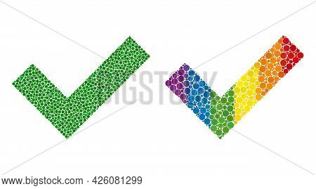 Okay Collage Icon Of Circle Elements In Various Sizes And Spectrum Colored Color Tones. A Dotted Lgb