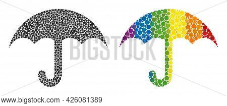 Umbrella Mosaic Icon Of Filled Circles In Various Sizes And Spectrum Color Hues. A Dotted Lgbt-color