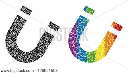 Horseshoe Magnet Composition Icon Of Circle Elements In Different Sizes And Rainbow Bright Color Tin