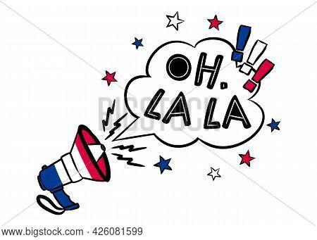 Oh, La La. Comic Speech Bubble With Shout In The Colors Of The French Tricolor. Pop Art Vector Illus