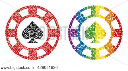 Spades Casino Chip Composition Icon Of Round Dots In Variable Sizes And Rainbow Colored Color Tinges