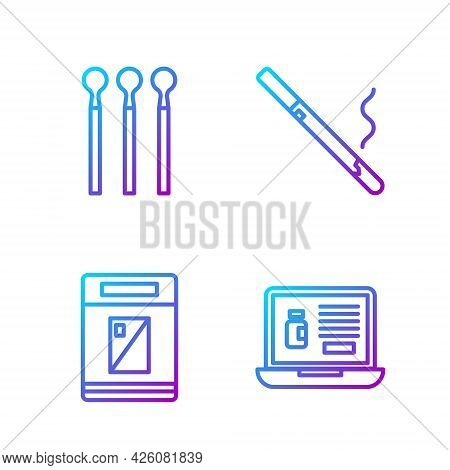 Set Line Buying Drugs Online On Laptop, Cigarettes Pack Box, Matches And Cigarette. Gradient Color I