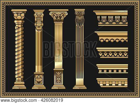 Set Of Silhouettes Classic Vintage Golden Capitals