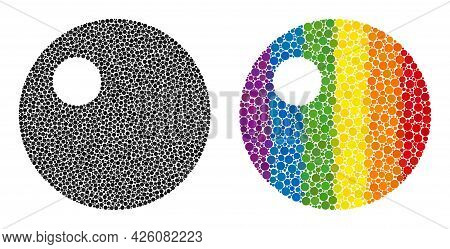 Sphere Composition Icon Of Circle Elements In Variable Sizes And Rainbow Bright Color Tints. A Dotte