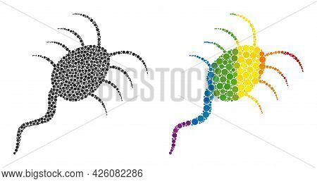 Infection Microbe Composition Icon Of Filled Circles In Different Sizes And Rainbow Colored Color To
