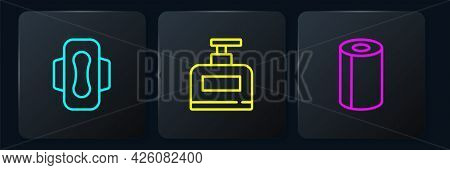 Set Line Sanitary Napkin, Paper Towel Roll And Bottle Of Shampoo. Black Square Button. Vector