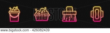 Set Line Handle Broom, Bucket With Soap Suds, Basin And Sanitary Napkin. Glowing Neon Icon. Vector