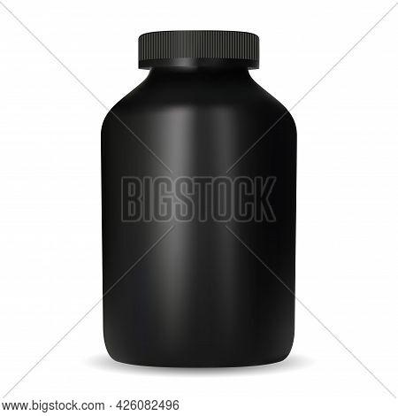 Creatine Nutrition Jar. Black Design Protein Container Mockup. Sport Supplement Pill Tub Template. C