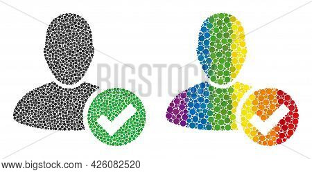Valid User Mosaic Icon Of Circle Elements In Different Sizes And Rainbow Colorful Color Tinges. A Do