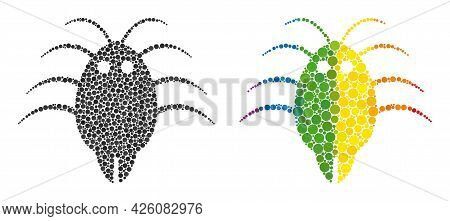 Parasite Mosaic Icon Of Round Items In Variable Sizes And Rainbow Bright Color Hues. A Dotted Lgbt-c