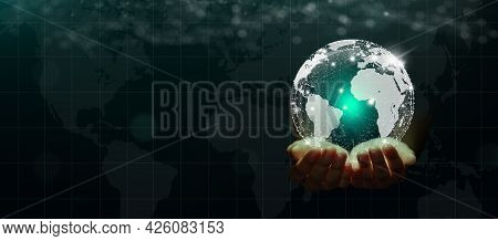 Businessman Hand Holding Global Network Connected And Worldwide Data Exchanges On Abstract Technolog