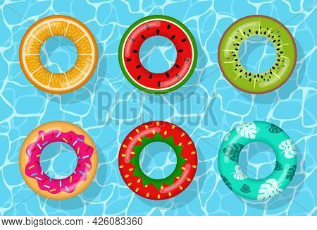Inflatable Swimming Rings Set Looking Like Orange, Watermelon, Kiwi, Donut, Strawberry And Tropical