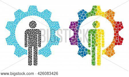 Human Resources Collage Icon Of Round Items In Various Sizes And Rainbow Colored Color Tinges. A Dot
