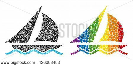 Sailing Mosaic Icon Of Circle Elements In Different Sizes And Rainbow Color Hues. A Dotted Lgbt-colo