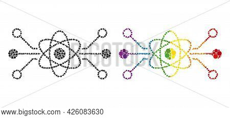 Quantum Circuit Collage Icon Of Circle Elements In Variable Sizes And Spectrum Bright Color Tones. A