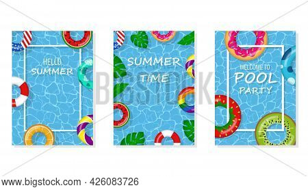 Vector Bright And Fun Advertising Poster Template For Pool Party. Welcome To Pool Party Flyer With S