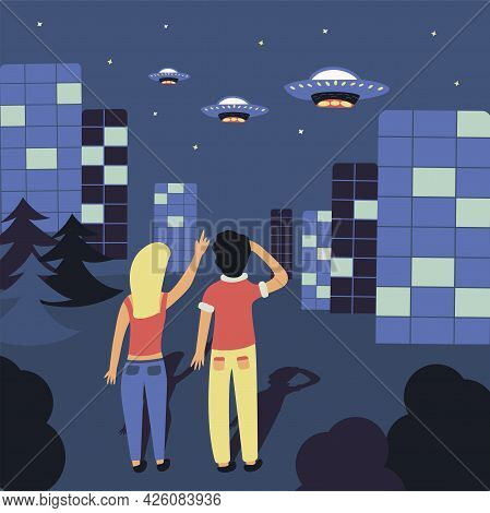People Are Looking At Ufos In The Sky. Evening City. Three Flying Saucers Descend From The Sky. Colo