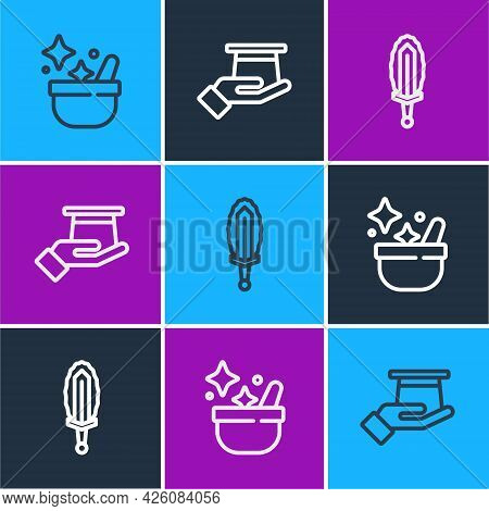 Set Line Witch Cauldron, Magic Sword In Fire And Magician Hat Hand Icon. Vector