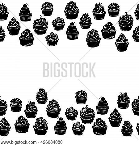 Cupcake Silhouette Horizontal Border, Muffin Decorative Frame With Various Decor Vector Illustration