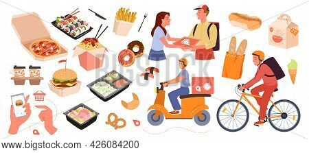 Fast Food Delivery Service Set, Online Order From Mobile App On Phone, Courier Delivering