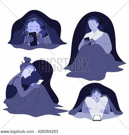 Cartoon Young Man And Woman Characters Lying In Bed In Dark Bedroom With Cellphone, Internet Addicti
