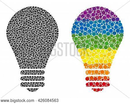 Lamp Bulb Collage Icon Of Circle Elements In Various Sizes And Rainbow Colorful Color Tones. A Dotte