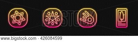 Set Line Comet Falling Down Fast, Tarot Cards, Pentagram Circle And . Glowing Neon Icon. Vector