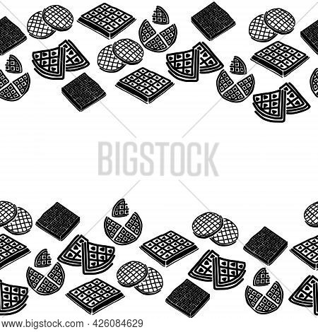 Horizontal Border Of Waffle Silhouettes, Decorative Frame Of Waffles Of Various Shapes And Sizes Vec