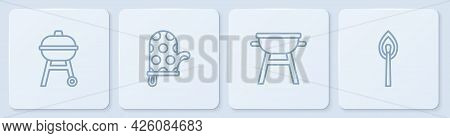 Set Line Barbecue Grill, , Oven Glove And Burning Match With Fire. White Square Button. Vector