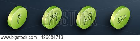Set Isometric Line Rib Eye Steak, Barbecue Grill, Bbq Brazier And Steak Meat Icon. Vector
