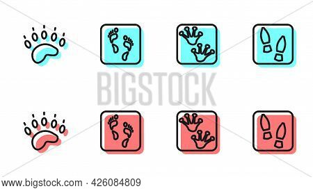 Set Line Frog Paw Footprint, Bear, Human And Footprints Shoes Icon. Vector