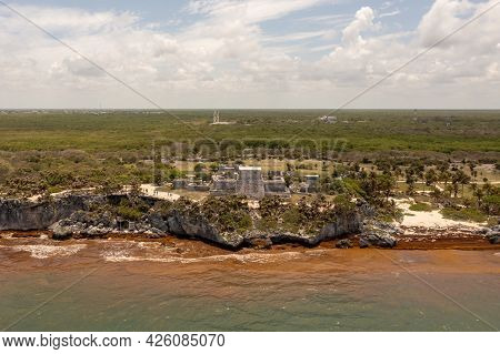 Aerial Panoramic View Of The Mayan Archaeological Zone In Tulum In Quintana Roo, Mexico.