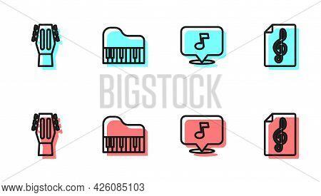 Set Line Music Note, Tone, Guitar, Grand Piano And Treble Clef Icon. Vector