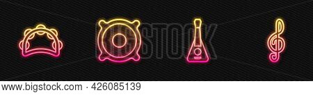 Set Line Guitar, Tambourine, Stereo Speaker And Treble Clef. Glowing Neon Icon. Vector